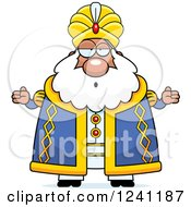 Clipart Of A Careless Shrugging Chubby Sultan Royalty Free Vector Illustration by Cory Thoman