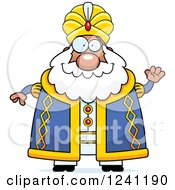 Clipart Of A Friendly Waving Chubby Sultan Royalty Free Vector Illustration by Cory Thoman