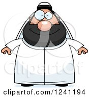 Clipart Of A Happy Chubby Sheikh Royalty Free Vector Illustration