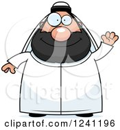 Clipart Of A Friendly Waving Chubby Sheikh Royalty Free Vector Illustration