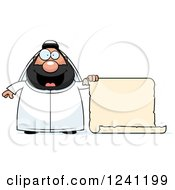 Clipart Of A Chubby Sheikh With A Scroll Sign Royalty Free Vector Illustration