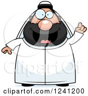 Clipart Of A Chubby Sheikh With An Idea Royalty Free Vector Illustration by Cory Thoman