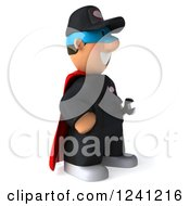 Clipart Of A 3d Happy Super Mechanic Facing Right Royalty Free Illustration
