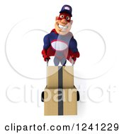 Clipart Of A 3d Super Hero Mechanic In Red And Dark Blue Moving Boxes On A Dolly Royalty Free Illustration