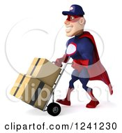 Clipart Of A 3d Super Hero Mechanic In Red And Dark Blue Moving Boxes On A Dolly 2 Royalty Free Illustration