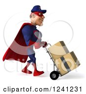 Clipart Of A 3d Super Hero Mechanic In Red And Dark Blue Moving Boxes On A Dolly 3 Royalty Free Illustration