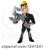 Clipart Of A 3d Strong Builder Man Holding A Dollar Symbol Royalty Free Illustration