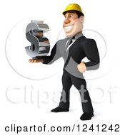 Clipart Of A 3d Strong Builder Man Holding A Dollar Symbol 2 Royalty Free Illustration
