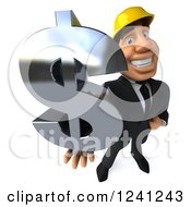 Clipart Of A 3d Strong Builder Man Holding A Dollar Symbol 3 Royalty Free Illustration