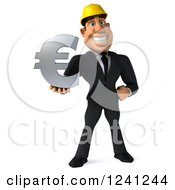 Clipart Of A 3d Strong Builder Man Holding A Euro Symbol Royalty Free Illustration
