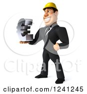 Clipart Of A 3d Strong Builder Man Holding A Euro Symbol 2 Royalty Free Illustration