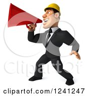 Clipart Of A 3d Strong Builder Man Using A Megaphone 3 Royalty Free Illustration