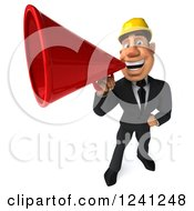 Clipart Of A 3d Strong Builder Man Using A Megaphone 4 Royalty Free Illustration