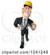 Clipart Of A 3d Strong Builder Man Walking And Pointing Royalty Free Illustration