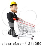 Clipart Of A 3d Strong Builder Man With A Shopping Cart Royalty Free Illustration