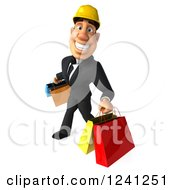 Clipart Of A 3d Strong Builder Man With Shopping Bags Royalty Free Illustration