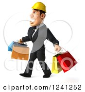 Clipart Of A 3d Strong Builder Man With Shopping Bags 2 Royalty Free Illustration