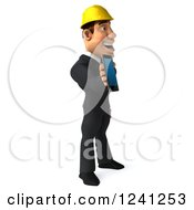 Clipart Of A 3d Strong Builder Man Holding A Smart Phone Or Tablet Royalty Free Illustration