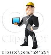 Clipart Of A 3d Strong Builder Man Holding A Smart Phone Or Tablet 3 Royalty Free Illustration