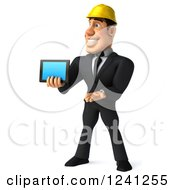 Clipart Of A 3d Strong Builder Man Holding A Smart Phone Or Tablet 2 Royalty Free Illustration