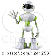 Clipart Of A 3d White And Green Robot Waving Royalty Free Illustration