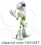 Clipart Of A 3d White And Green Robot Waving And Facing Right Royalty Free Illustration
