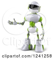 Clipart Of A 3d White And Green Robot Presenting Royalty Free Illustration