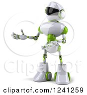 Clipart Of A 3d White And Green Robot Presenting 2 Royalty Free Illustration