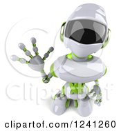 Clipart Of A 3d White And Green Robot Looking Up And Waving Royalty Free Illustration