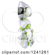 Clipart Of A 3d White And Green Robot Facing Left Royalty Free Illustration