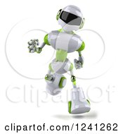Clipart Of A 3d White And Green Robot Running Royalty Free Illustration