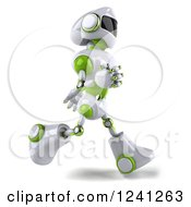Clipart Of A 3d White And Green Robot Running 2 Royalty Free Illustration