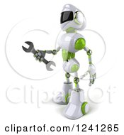 Clipart Of A 3d White And Green Robot Holding A Wrench Royalty Free Illustration