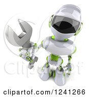 Clipart Of A 3d White And Green Robot Holding Up A Wrench Royalty Free Illustration