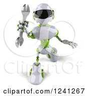 Clipart Of A 3d White And Green Robot Holding A Wrench 2 Royalty Free Illustration