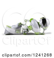 Clipart Of A 3d White And Green Robot Resting On His Side Royalty Free Illustration
