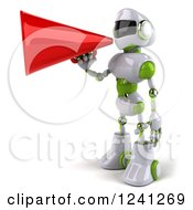 Clipart Of A 3d White And Green Robot Announcing With A Megaphone Royalty Free Illustration