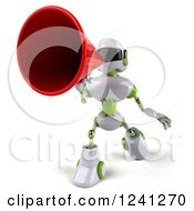 Clipart Of A 3d White And Green Robot Announcing With A Megaphone 2 Royalty Free Illustration