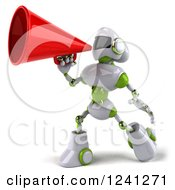 Clipart Of A 3d White And Green Robot Announcing With A Megaphone 3 Royalty Free Illustration