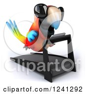 Clipart Of A 3d Macaw Parrot Wearing Shades And Running On A Treadmill Royalty Free Illustration