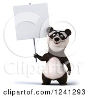 Clipart Of A 3d Bespectacled Panda Holding Up A Blank Sign Royalty Free Illustration