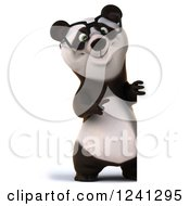 Clipart Of A 3d Bespectacled Panda By A Sign Royalty Free Illustration