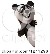 Clipart Of A 3d Bespectacled Panda Giving A Thumb Up Around A Sign Royalty Free Illustration