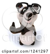 Clipart Of A 3d Bespectacled Panda Holding A Thumb Up Royalty Free Illustration