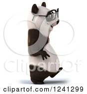 Clipart Of A 3d Bespectacled Panda Walking Royalty Free Illustration