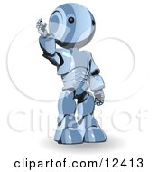 Blue Metal Robot Waving Or Raising His Hand Clipart Illustration