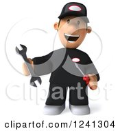 Clipart Of A 3d Happy Male Auto Mechanic With Tools 2 Royalty Free Illustration