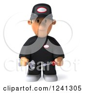 Clipart Of A 3d Sad Male Auto Mechanic Royalty Free Illustration