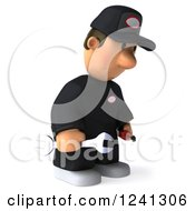 Clipart Of A 3d Sad Male Auto Mechanic 2 Royalty Free Illustration