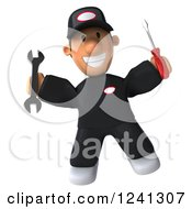 Clipart Of A 3d Happy Male Auto Mechanic Jumping With Tools Royalty Free Illustration